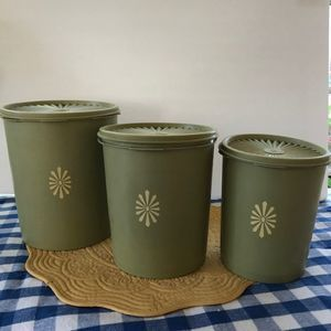 Vintage 1970's Avocado Green Tupperware Canisters